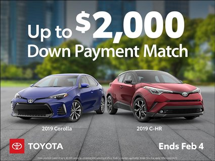 Down Payment Match on CHR and Corolla