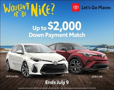 Down Payment Match on Corolla and CH-R